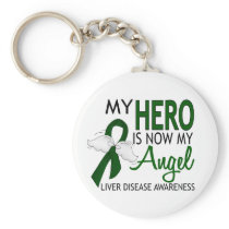 My Hero Is My Angel Liver Disease Keychain
