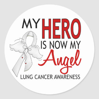 My Hero Is My Angel Lung Cancer Classic Round Sticker