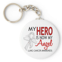 My Hero Is My Angel Lung Cancer Keychain