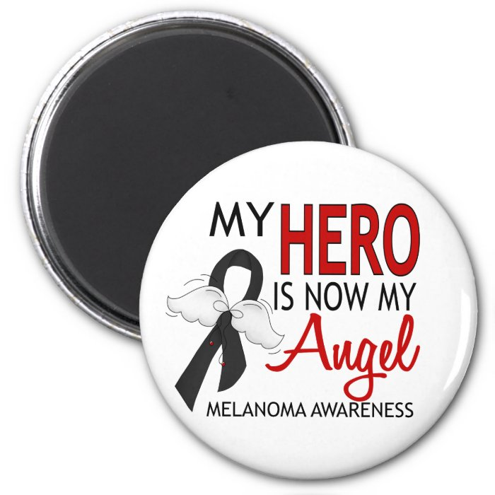 My Hero Is My Angel Melanoma 2 Inch Round Magnet