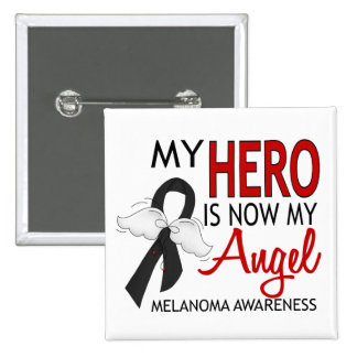 My Hero Is My Angel Melanoma 2 Inch Square Button