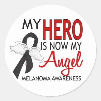 My Hero Is My Angel Melanoma Classic Round Sticker