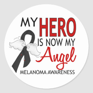 My Hero Is My Angel Melanoma Classic Round Sticker