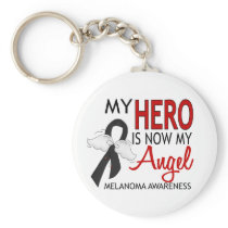 My Hero Is My Angel Melanoma Keychain