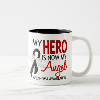 My Hero Is My Angel Melanoma Two-Tone Coffee Mug