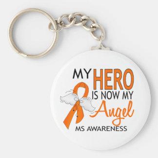 My Hero Is My Angel MS Basic Round Button Keychain