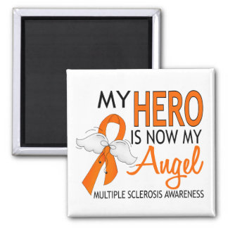 My Hero Is My Angel Multiple Sclerosis 2 Inch Square Magnet
