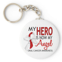 My Hero Is My Angel Oral Cancer Keychain