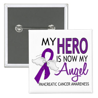My Hero Is My Angel Pancreatic Cancer 2 Inch Square Button