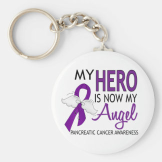 My Hero Is My Angel Pancreatic Cancer Basic Round Button Keychain
