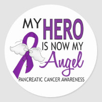 My Hero Is My Angel Pancreatic Cancer Classic Round Sticker