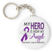 My Hero Is My Angel Pancreatic Cancer Keychain