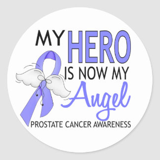 My Hero Is My Angel Prostate Cancer Classic Round Sticker