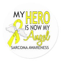 My Hero Is My Angel Sarcoma Classic Round Sticker