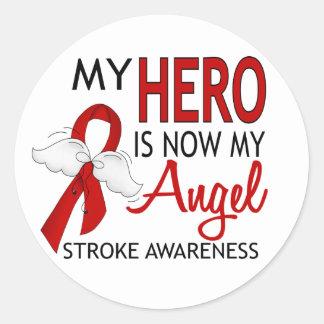 My Hero Is My Angel Stroke Classic Round Sticker