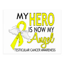 My Hero Is My Angel Testicular Cancer Postcard