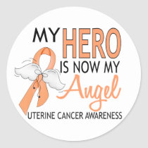 My Hero Is My Angel Uterine Cancer Classic Round Sticker