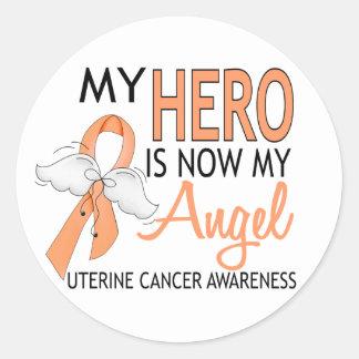 My Hero Is My Angel Uterine Cancer Classic Round Sticker