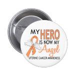 My Hero Is My Angel Uterine Cancer Pinback Button