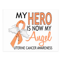 My Hero Is My Angel Uterine Cancer Postcard