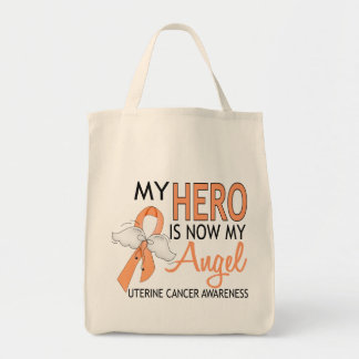 My Hero Is My Angel Uterine Cancer Tote Bag