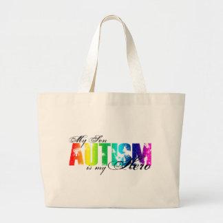My Hero  My Son - Autism Large Tote Bag