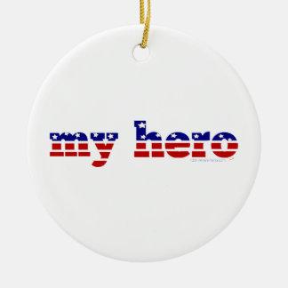 My Hero Stars and Stripes Patriotic Red White Blue Ceramic Ornament