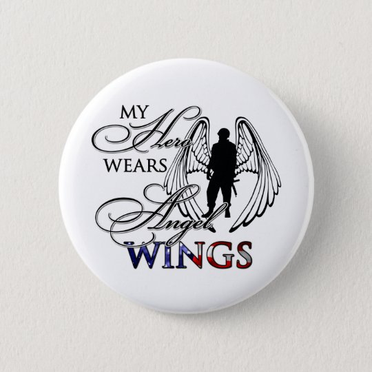 My Hero Wears Angel Wings Pinback Button