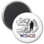 My Hero Wears Angel Wings Refrigerator Magnets