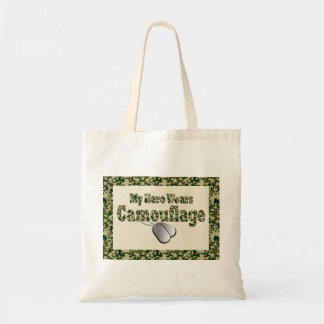 My Hero Wears Camouflage canvas tote Canvas Bag