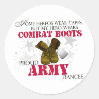 My Hero wears Combat Boots - Army Fiancee Classic Round Sticker