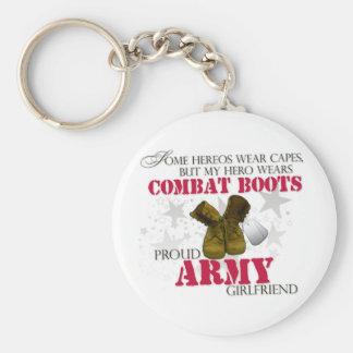 My Hero wears Combat Boots - Army Girlfriend Basic Round Button Keychain