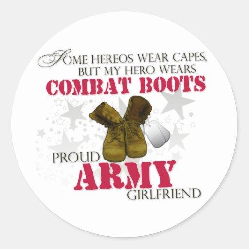 My Hero wears Combat Boots - Army Girlfriend Round Sticker