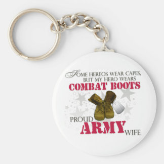 My Hero wears Combat Boots - Army Wife Basic Round Button Keychain