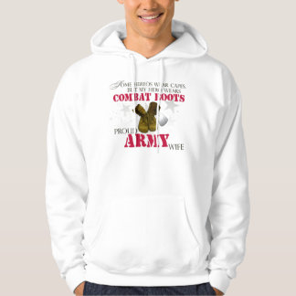 My Hero wears Combat Boots - Army Wife Hooded Pullovers