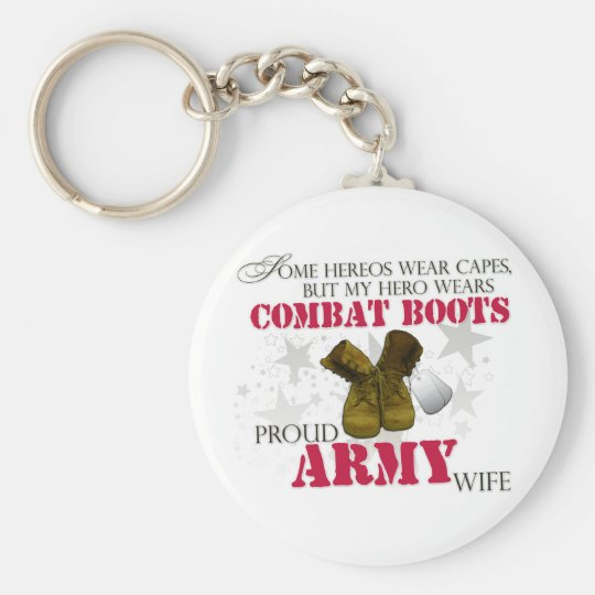 My Hero wears Combat Boots - Army Wife Keychain