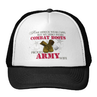 My Hero wears Combat Boots - Army Wife Trucker Hat