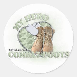 My Hero wears Combat Boots Classic Round Sticker