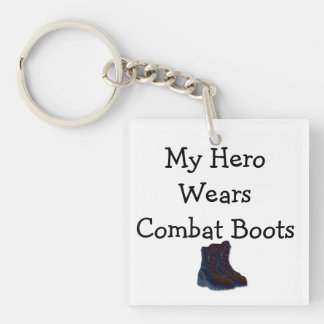 My Hero Wears Combat Boots Keychain