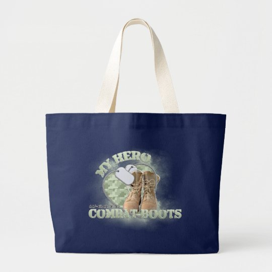 My Hero wears Combat Boots Large Tote Bag
