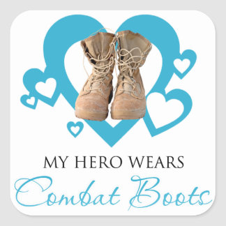 My Hero Wears Combat Boots Square Sticker