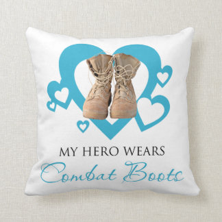 My Hero Wears Combat Boots Throw Pillow