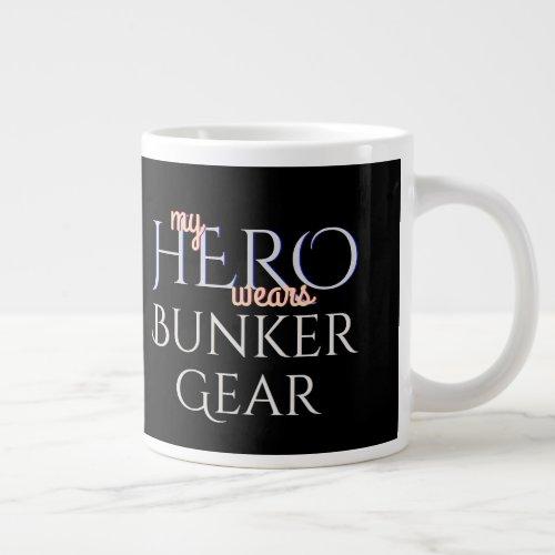 My Hero Wears Firefighter Bunker Gear Large Coffee Mug