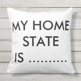 MY HOME STATE BLACK AND WHITE THROW PILLOW