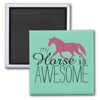My Horse Is Awesome Equestrian 2 Inch Square Magnet