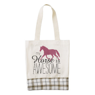 My Horse Is Awesome Equestrian Zazzle HEART Tote Bag