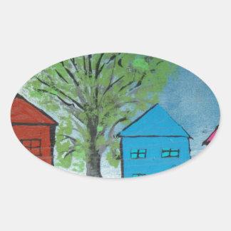 My House and Ambulance Oval Sticker