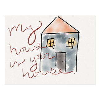 """My House is Your House"" New Home Announcement Postcard"