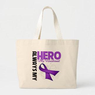 My Husband Always My Hero - Purple Ribbon Tote Bags