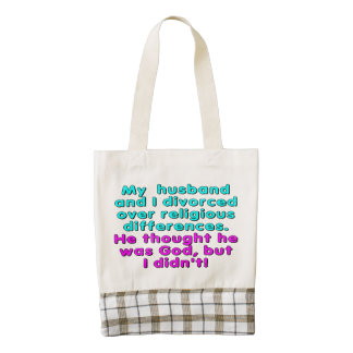 My husband and I divorced over religious... Zazzle HEART Tote Bag
